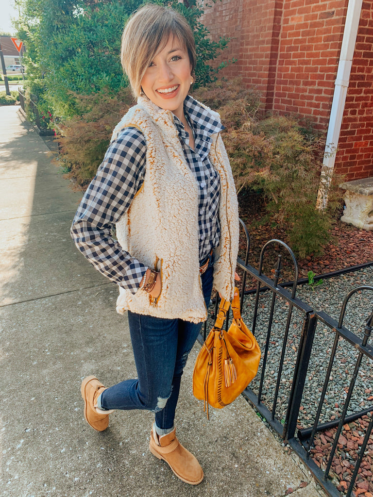 Snugglin' Up Sherpa Vest in Mustard-Carolyn Jane's Jewelry