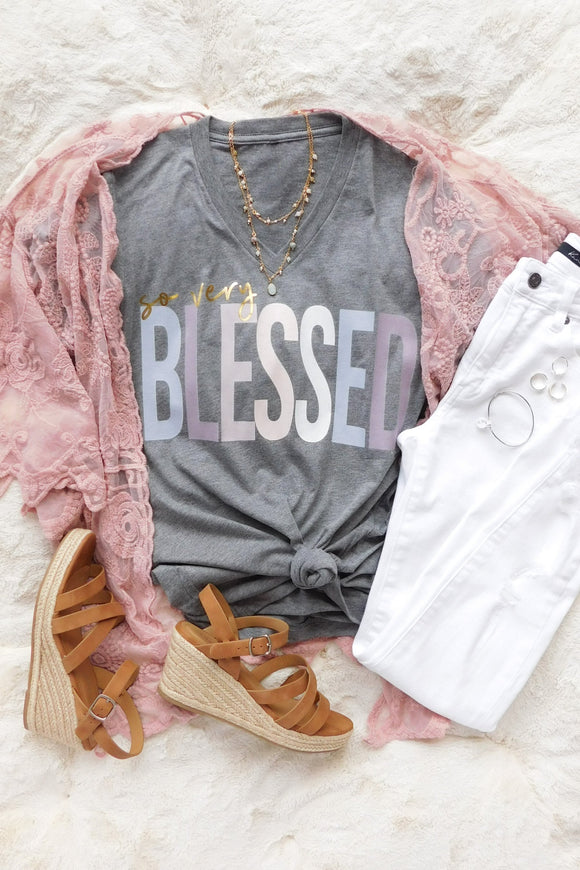 So Very Blessed V-Neck Tee-T-Shirt-Carolyn Jane's Jewelry