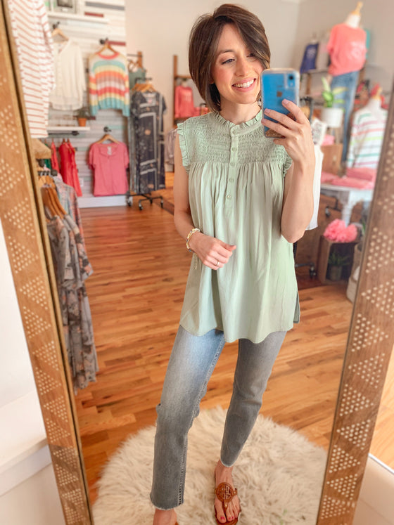 Soft Sage Ruffle Top-Carolyn Jane's Jewelry