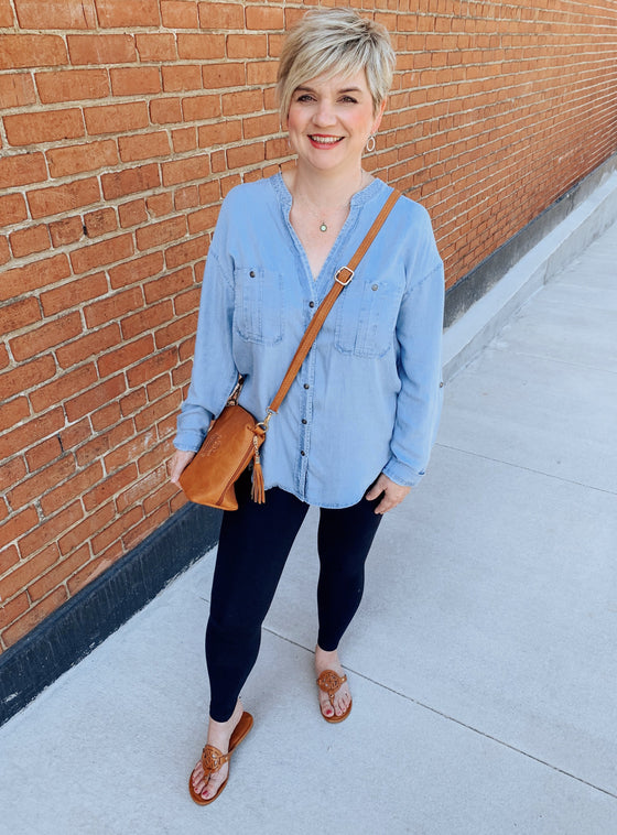 Soft Touch Denim Button Down Shirt-Carolyn Jane's Jewelry