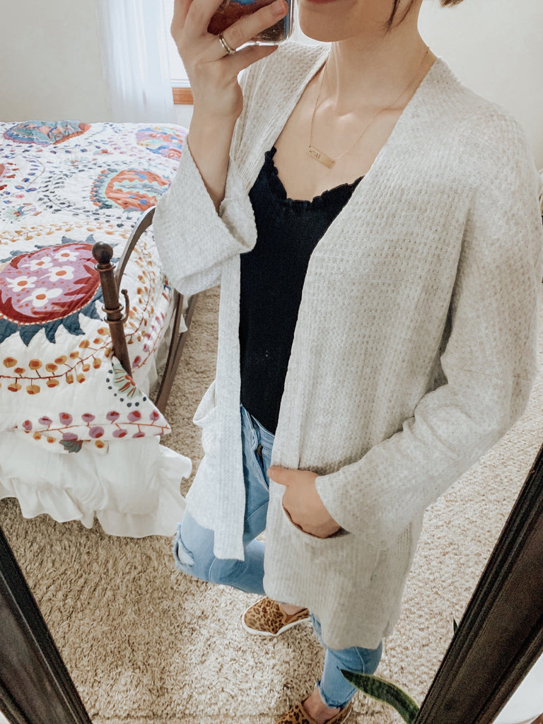 Spring Layer Grey Pocket Cardigan-Carolyn Jane's Jewelry