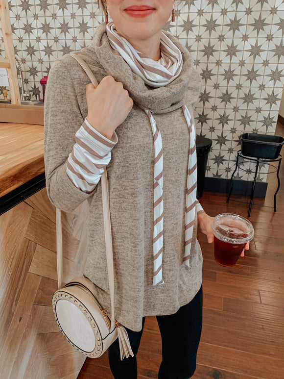 Stripes Done Right Taupe Pullover-Carolyn Jane's Jewelry
