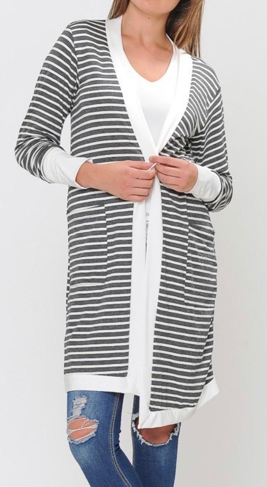 Strollin' in Stripes Cardigan in Grey-Carolyn Jane's Jewelry