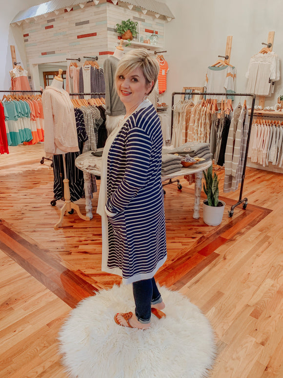 Strollin' in Stripes Cardigan in Navy-Carolyn Jane's Jewelry