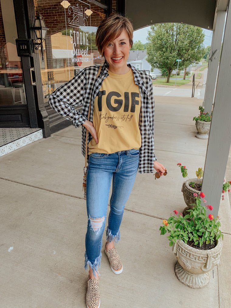 TGIF - Thank Goodness it's Fall T-Shirt-Carolyn Jane's Jewelry