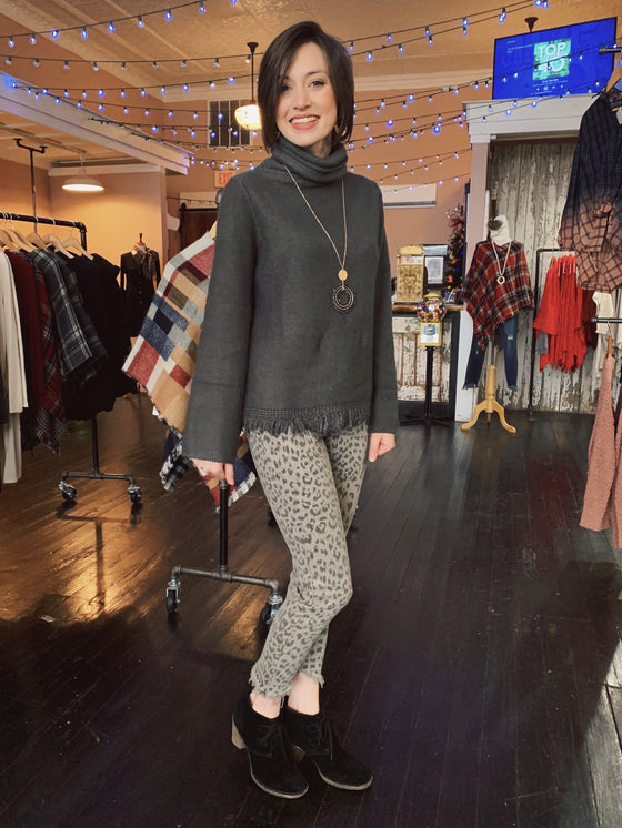 Turtleneck Fringe Sweater in Charcoal-Carolyn Jane's Jewelry