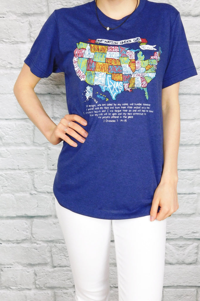 USA One Nation Under God Tee-T-Shirt-Carolyn Jane's Jewelry