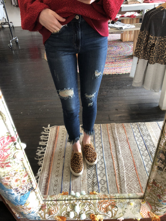 Vintage Distress High Rise Frayed Ankle Skinny Jean-Carolyn Jane's Jewelry