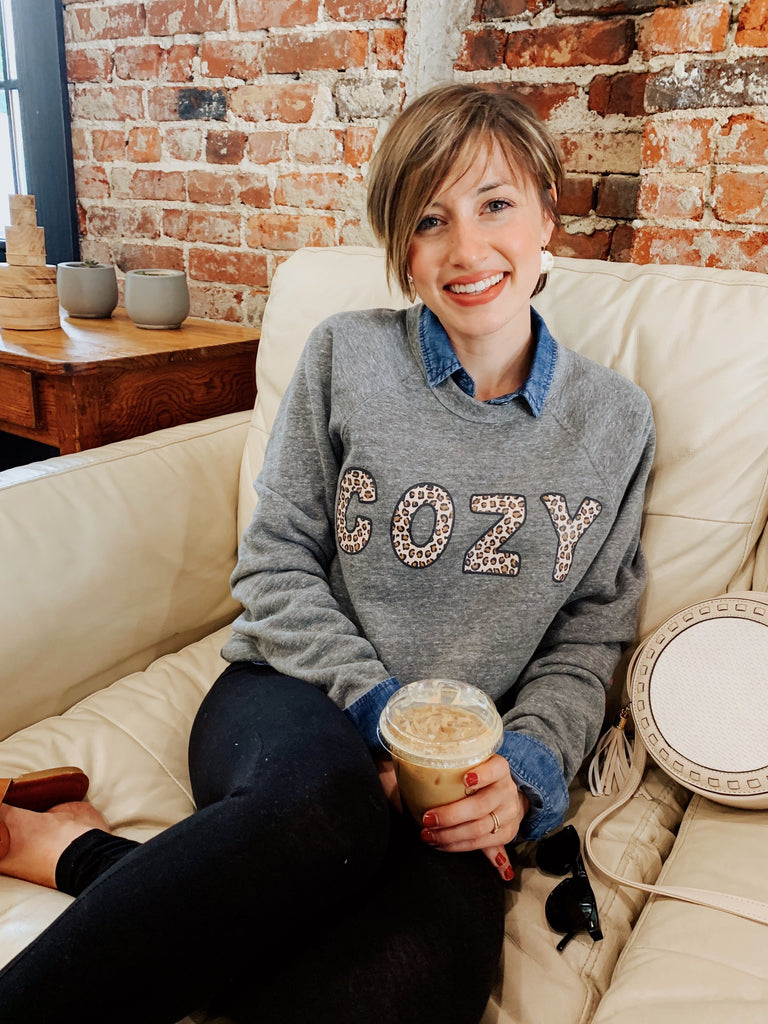 Your Cozy Leopard Sweatshirt-Carolyn Jane's Jewelry