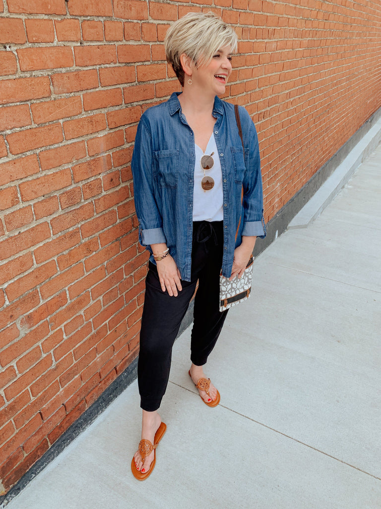 Your go-to Denim Button Up-Carolyn Jane's Jewelry