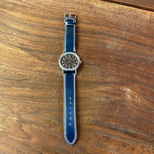 Executive Blue Shell Cordovan Watch Band - 20/18 - Amopelle Co.