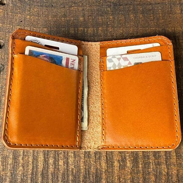 The Director's Vertical Wallet - Chestnut English Bridle - Amopelle Co.