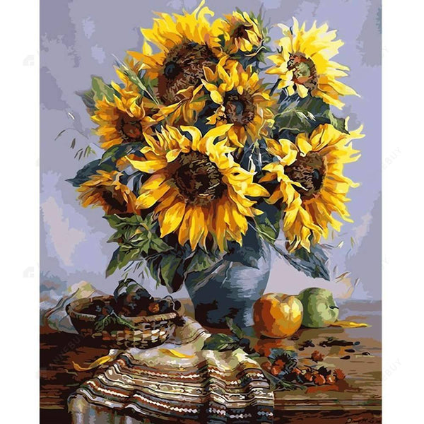 Paint By Numbers-Sun Flower 40x30cm DIY Paint By Numbers Oil Painting Kit