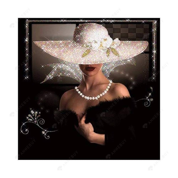 Diamond Painting-Partial Drill Elegant Lady with White Hat