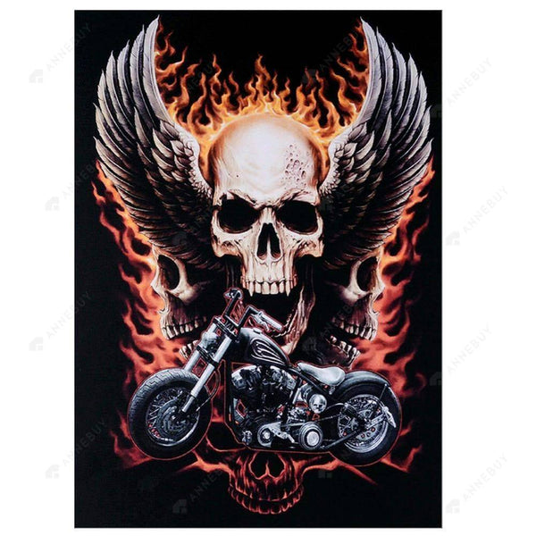 Diamond Painting-Partial Drill Round Beads Motorcycle Skull