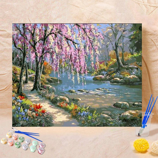 Paint By Numbers-DIY Romantic Creek Oil Painting on Canvas(40*50 cm)