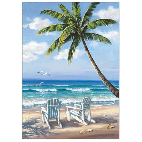 Diamond Painting-Partial Round Drill Seaside Coconut Trees