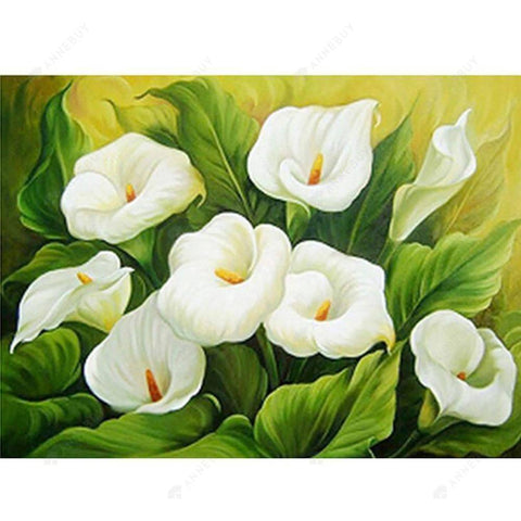 Diamond Painting-Partial Drill White Lily