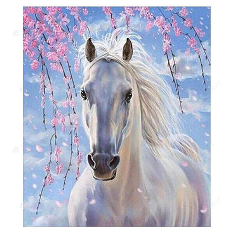 Diamond Painting-Partial Drill White Horse