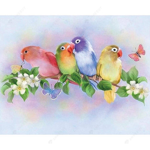 Diamond Painting -DIY Partial Round Drill Standing Branch Parrots