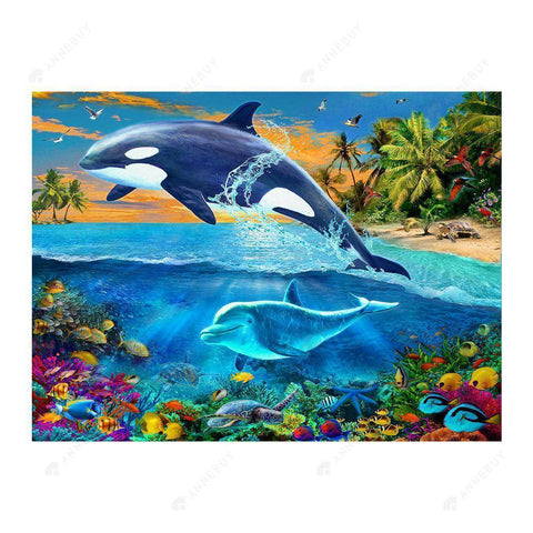 Diamond Painting-Partial Drill Dolphin