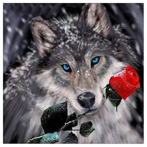 Diamond Painting-5D Full Drill Rose Wolf