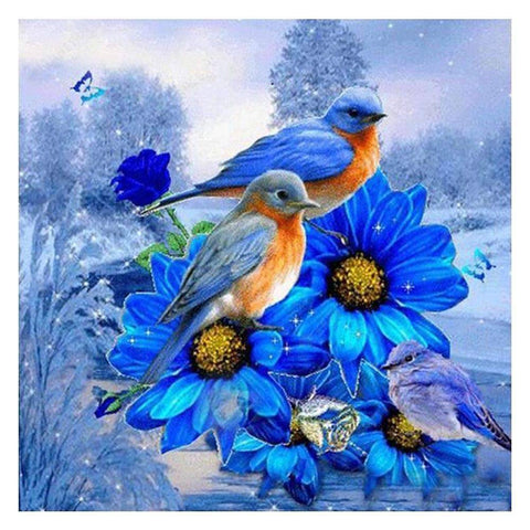 Diamond Painting-DIY Full Round Drill Blue Sparrows on Flowers