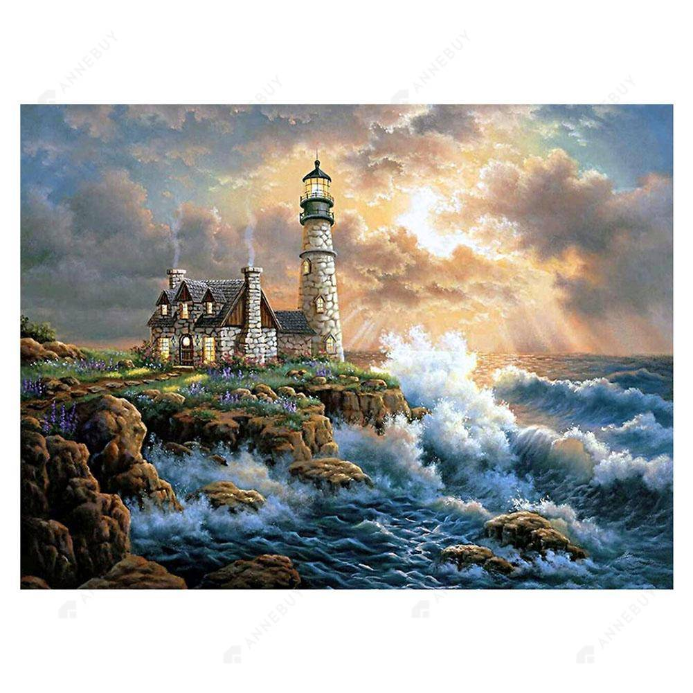 Diamond Painting-5D Full Round Drill Lighthouse