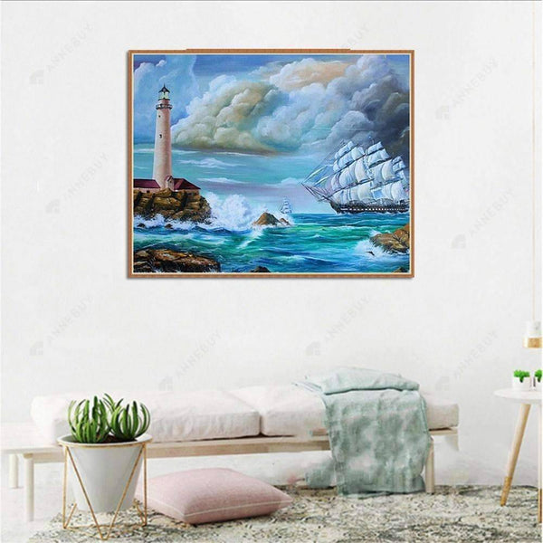 Diamond Painting-5D Full Round Drill Sea And Lighthouse