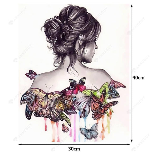 Paint By Numbers-Frameless Butterfly Beauty 3D DIY Kit Canvas