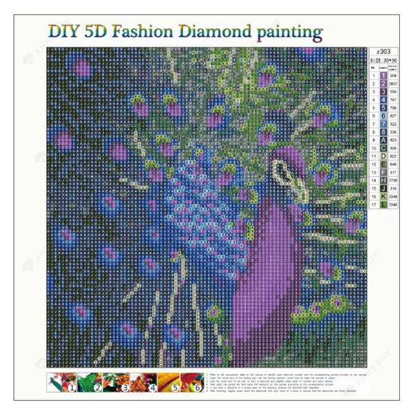Diamond Painting-5D Full Round Drill Peacock