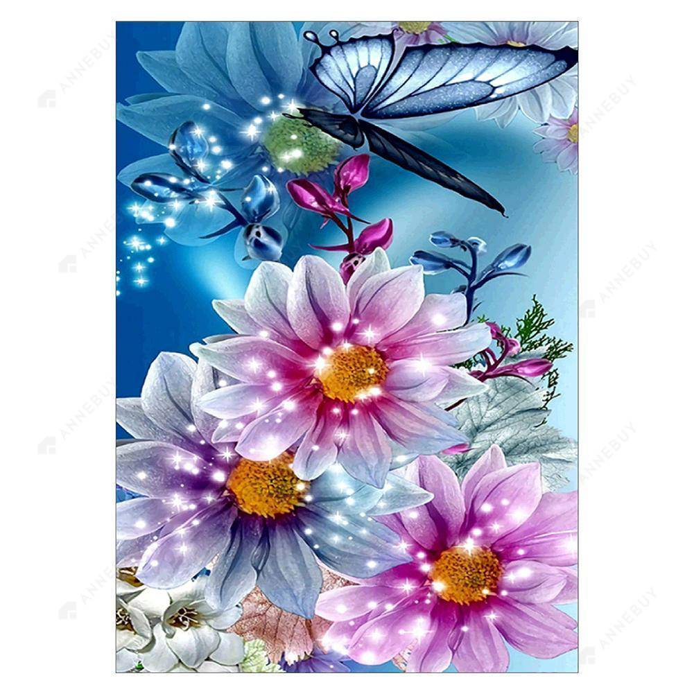 Diamond Painting -Full Round Drill Butterfly Flower