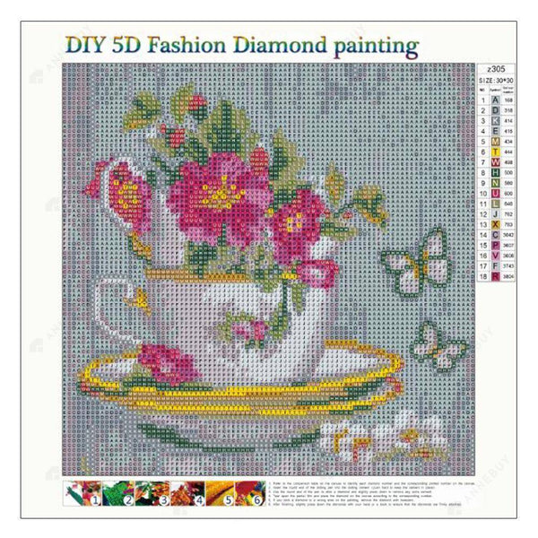 Diamond Painting -DIY Full Round Drill Pink Flowers in Cup