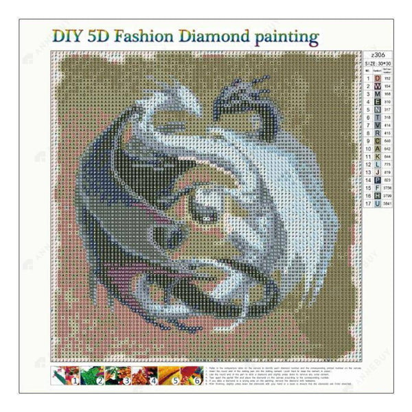Diamond Painting -Full Round Drill Combat Dragons