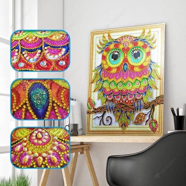 Diamond Painting -DIY Crystal Rhinestone Colorful Bird Owl