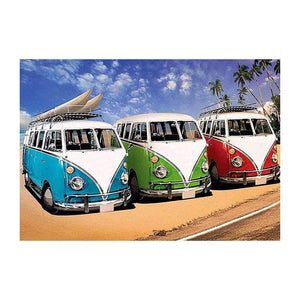 5D Full Drill-Beach Bus Cross Stitch Embroidery Mosaic