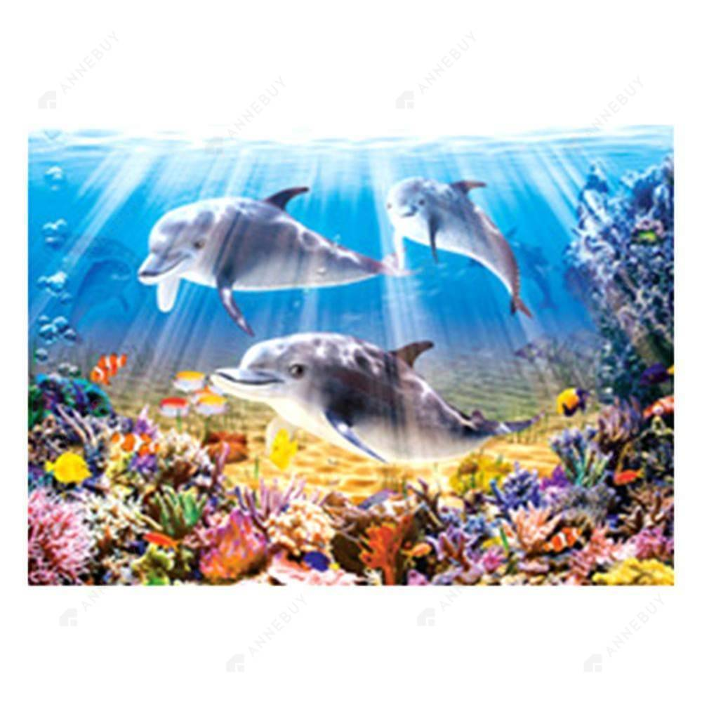 5D Full Drill-Sea Dolphin Cross Stitch Embroidery Kits