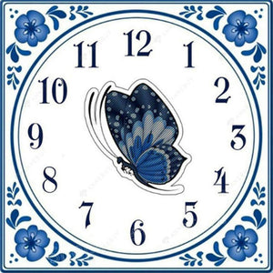 Diamond Painting-5D Full Drill Butterfly Clock