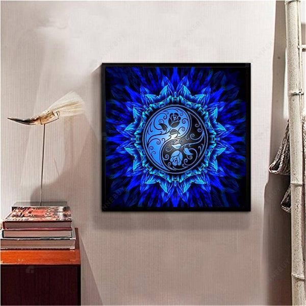 Diamond Painting-DIY Full Round Drill Blue Rose Totem