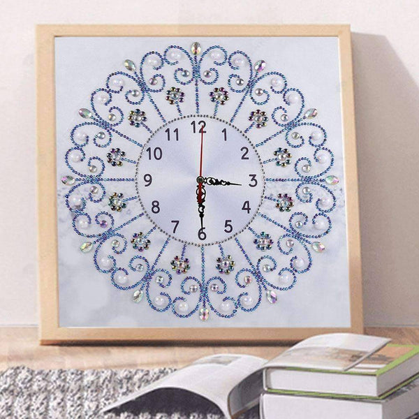 Diamond Painting-Special Shaped drill White Flower Wall Clock Craft Art Decor