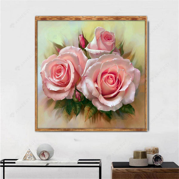 Diamond Painting -Partial Round Drill Pink Roses