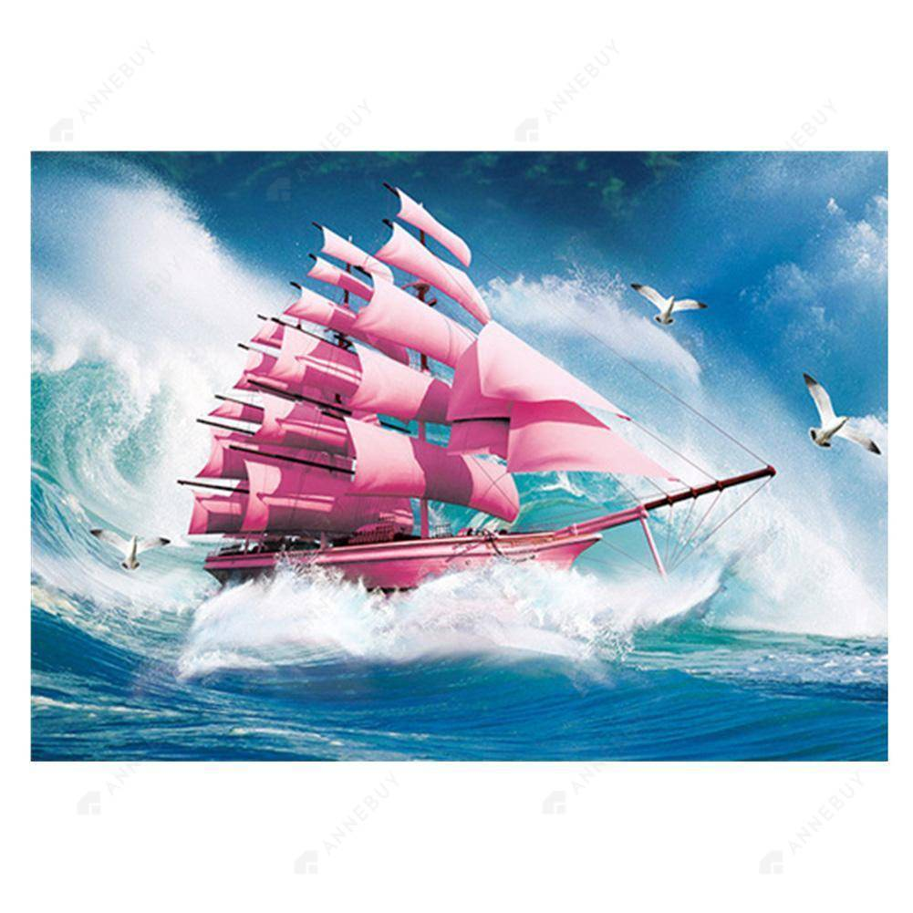 Diamond Painting -DIY Full Round Drill Sailing Ship