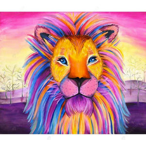 Diamond Painting -DIY Full Drill Round Beads Colorful Lion