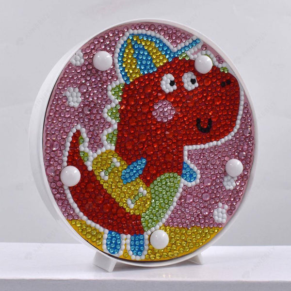 DIY Diamond Painting LED Lamp Light Full Drill Dinosaur Kit Decor