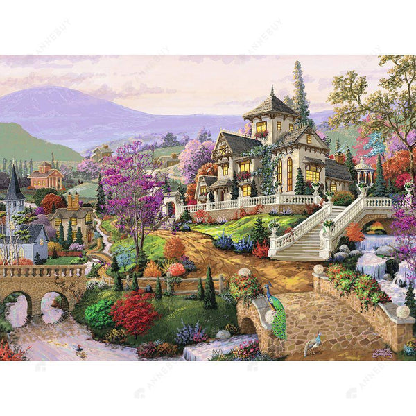 Diamond Painting-DIY Full Drill Round Beads Countryside Villa