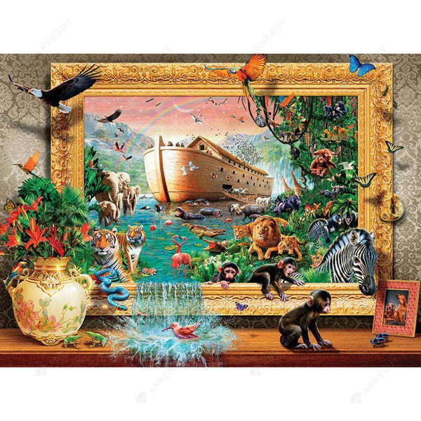 Diamond Painting -DIY Full Round Drill the World in Photo Frame