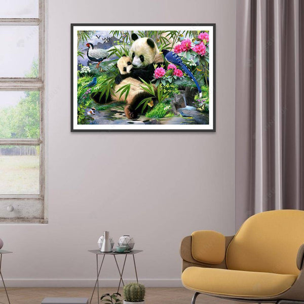 Diamond Painting -DIY Full Drill Round Beads Pandas