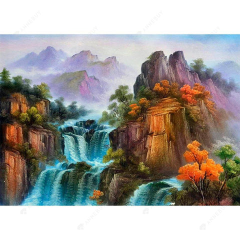 Diamond Painting-DIY Full Drill Round Beads High Mountains and Waterfalls