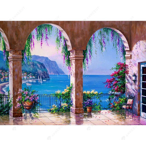 Diamond Painting-DIY Full Drill Round Beads Seaside House Seascape