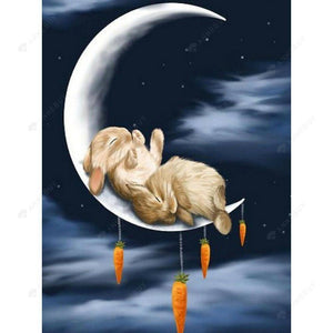 Diamond Painting -DIY Full Drill Rabbit Sleeping on the Moon